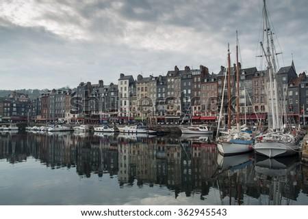 cozy french Honfleur town; small european fishing village
