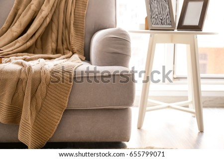 Cozy grey couch with plaid in modern room, close up