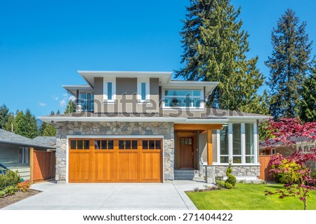 Cozy house on a sunny day. Home exterior. #271404422