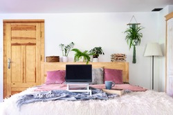 Cozy interior of bedroom with laptop with empty monitor on a bed. Business and work from home with a lot of plants. Workplace during coronavirus. Technology and mock up.