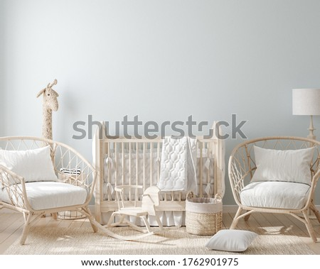 Cozy light blue nursery with natural wooden furniture, 3d render Stock photo ©