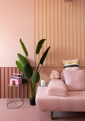Cozy living room corner with pink sofa covered with comfortable pink pillows on decorated wall background feature and artificial plant on the left side / cozy interior concept / decoration idea