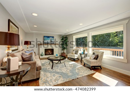 cozy living room interior with...