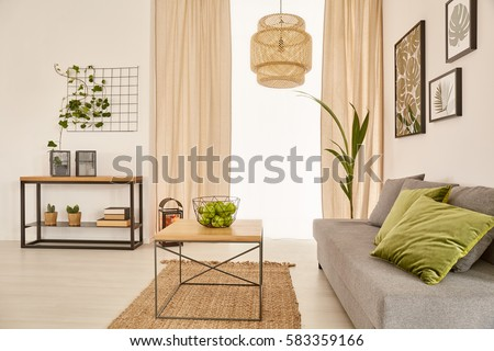 Cozy living room with couch and coffee table #583359166