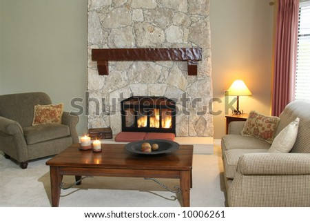 Cozy Living Room With Fireplace Turned On Stock Photo 10006261
