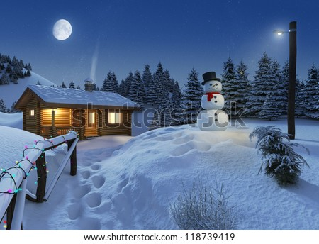 cozy log cottage in a winter scene with snowman, christmas lights and a big moon on the sky