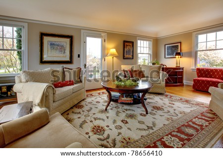 Cozy luxury living room with beige and red #78656410