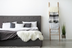 Cozy modern bedroom design and minimalist home style, blog about interior and designer work. Double large bed with pillows and soft bedspread, plant in pot on floor, stairs at apartment, empty space
