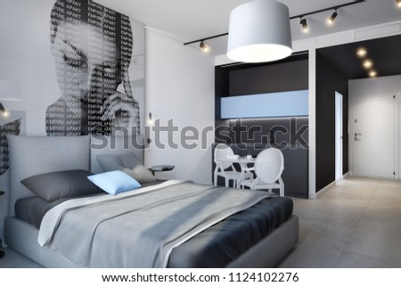 Cozy modern bedroom in hote with wood elements, large and soft bed;  3d rendering; hotel room; 300 dpi #1124102276
