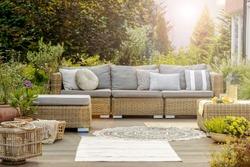 Cozy modern designed lounge outside big villa