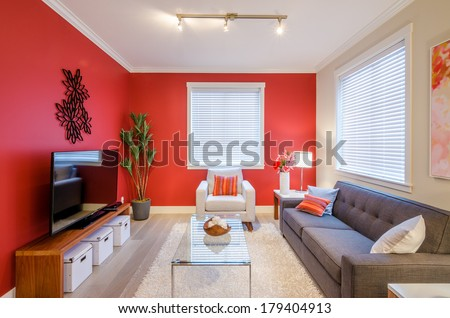 Cozy modern red living room interior design #179404913
