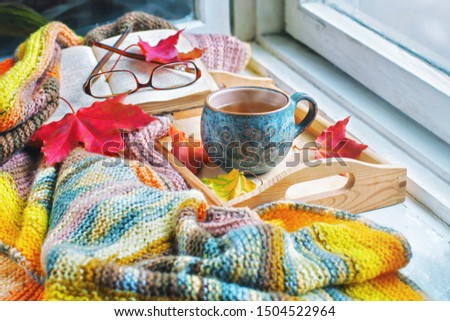 Cozy morning at home. A cup of tea, a blanket, old books and jelly on the windowsill.