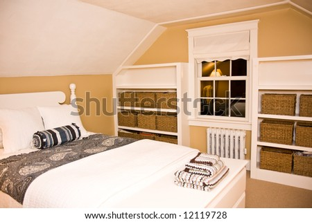 Cozy New England Style Bedroom Stock Photo 12119728