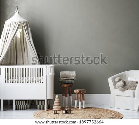 Cozy nursery interior background, Scandinavian style, 3D render Stock photo ©