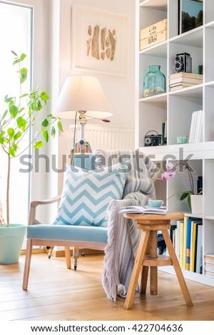 Cozy reading corner with armchair. Foto d'archivio ©