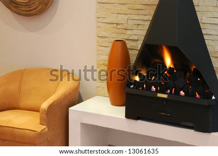 Cozy seeting with a modern gas fireplace