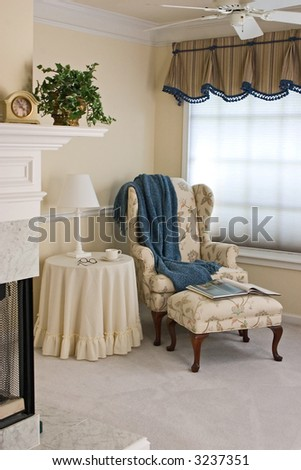 Cozy sitting area in master bedroom