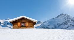 Cozy ski hut in swiss mountains