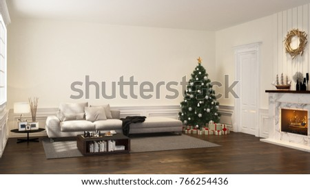 cozy sofa in white living room with chrismas tree gift box decoration and fireplace - 3D rendering