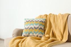 Cozy sofa with pillow and plaid near light wall. Idea for living room interior design