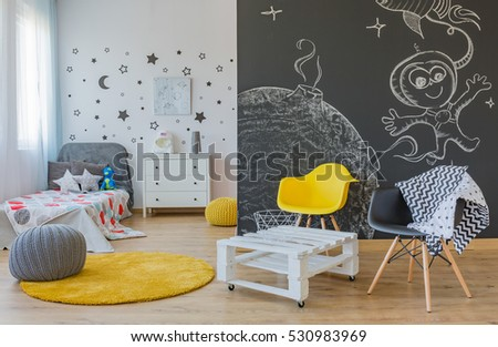Cozy space themed bedroom for children