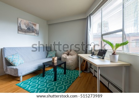 Cozy studio student apartment with a combined living room and office. #515273989