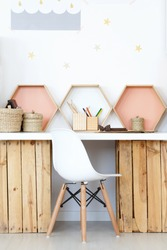 Cozy study space with wooden DIY desk and natural accessories