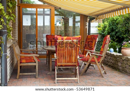 cozy Terrace with  entrance to the conservatory.