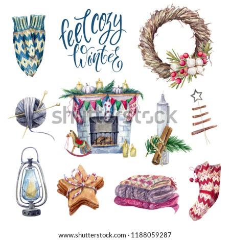 Cozy winter set of watercolor hugge essentials elements