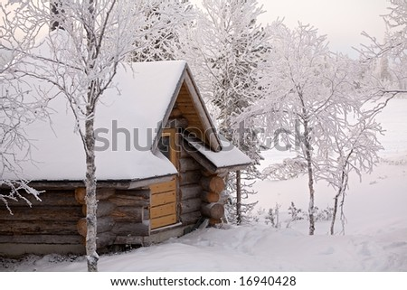 cozy wooden cottage in snowy winter forest