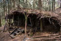 Cozy wooden hovel made of moss and branches in the forest