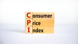 CPI, consumer price index symbol. Wooden blocks with words 'CPI, consumer price index'. Beautiful white background, copy space. Business and CPI, consumer price index concept.
