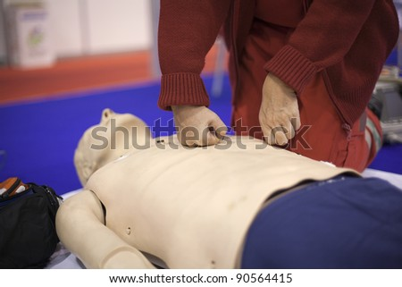 CPR. First aid training - stock photo