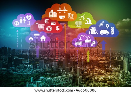 CPS concept abstract image, various information upload to cloud and analytical data download to real world, Cloud Computing, Internet of Things #466508888