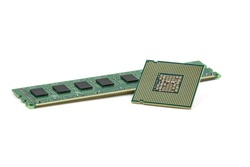 CPU and RAM isolated on a white background. CPU and RAM for a laptop. Set of RAM and processor. top view.