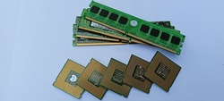 CPU and RAM isolated on a white background. CPU and RAM for laptops. Set RAM and processor. Background. back texture