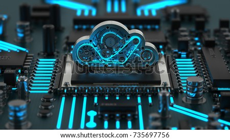 Cpu and steel cloud engine. High resolution 3D render stock photo