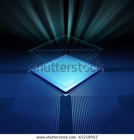 CPU background with blueprint and radial light