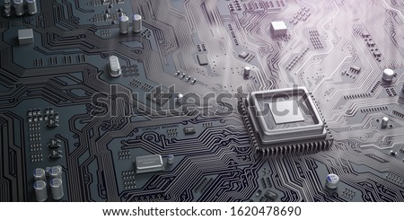 CPU chip on circuit board. Black motherboard with central processor chip. Computer hardware tecnology. 3d illustration Foto stock ©