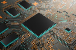 CPU Chip on circuit board design with a Microchip CPU Processor Turning On