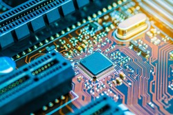 Cpu chipset on printed circuit board (pcb) close up.