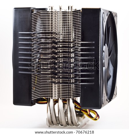 cpu cooler, heat sinc with 2 fans side view