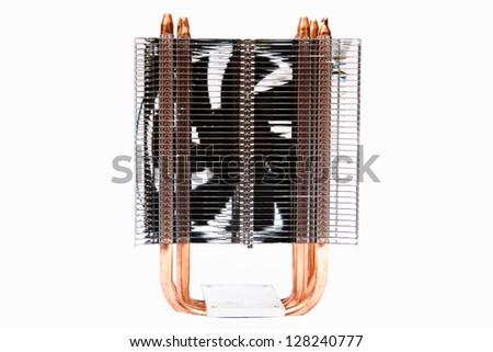 Cpu cooler, with copper pipes and aluminium radiator