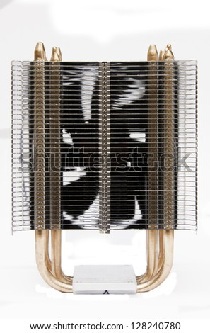 Cpu cooler, with copper pipes and aluminium radiator