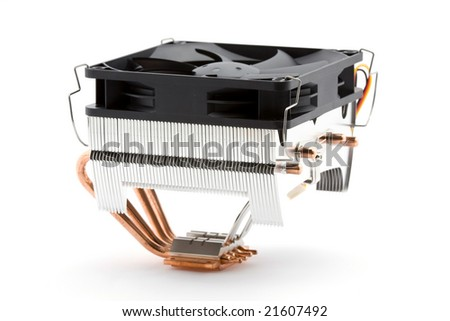cpu cooler with heat pipes studio isolated