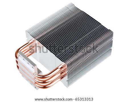 CPU Cooler with heatpipes isolated on white background