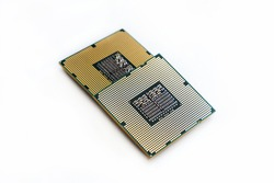 cpu pair microchip on white isolated background