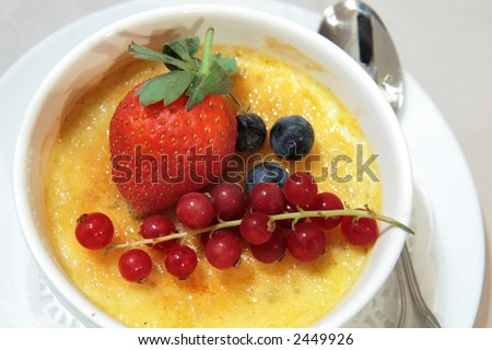 Crème Brulee with fresh wild fruits Photo stock ©