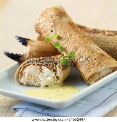 Crab buckwheat pancake nems
