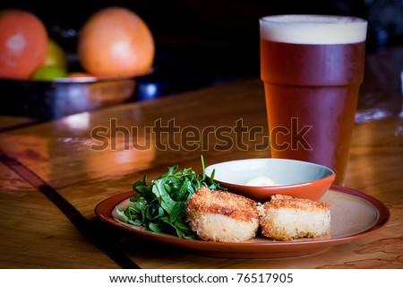 crab cakes and a beer